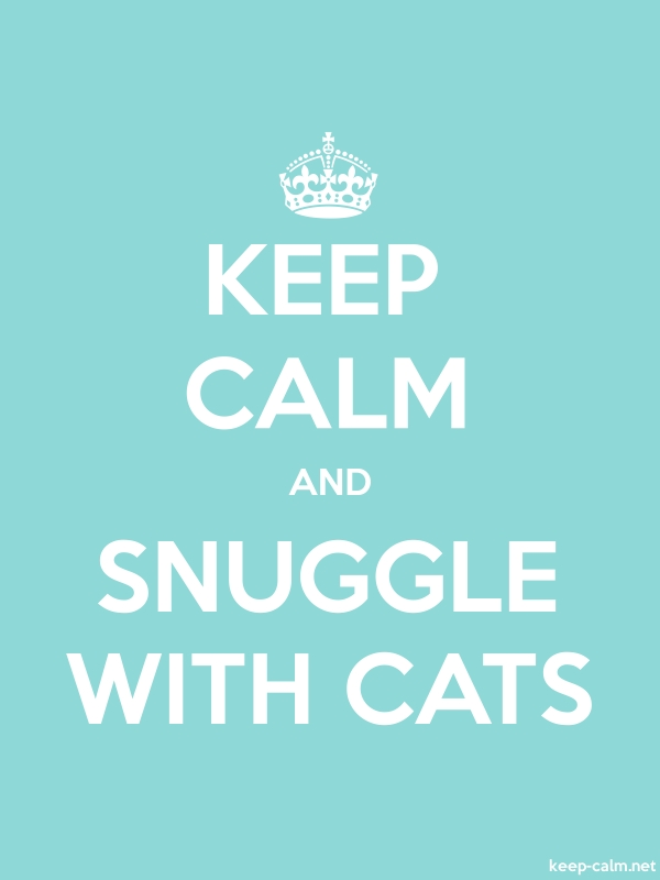 KEEP CALM AND SNUGGLE WITH CATS - white/lightblue - Default (600x800)