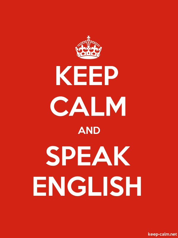 KEEP CALM AND SPEAK ENGLISH - white/red - Default (600x800)