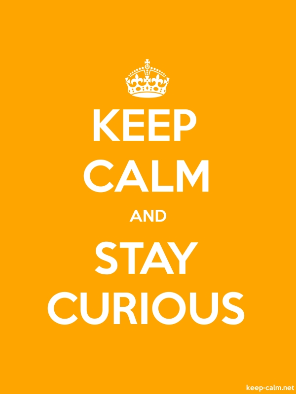 KEEP CALM AND STAY CURIOUS - white/orange - Default (600x800)