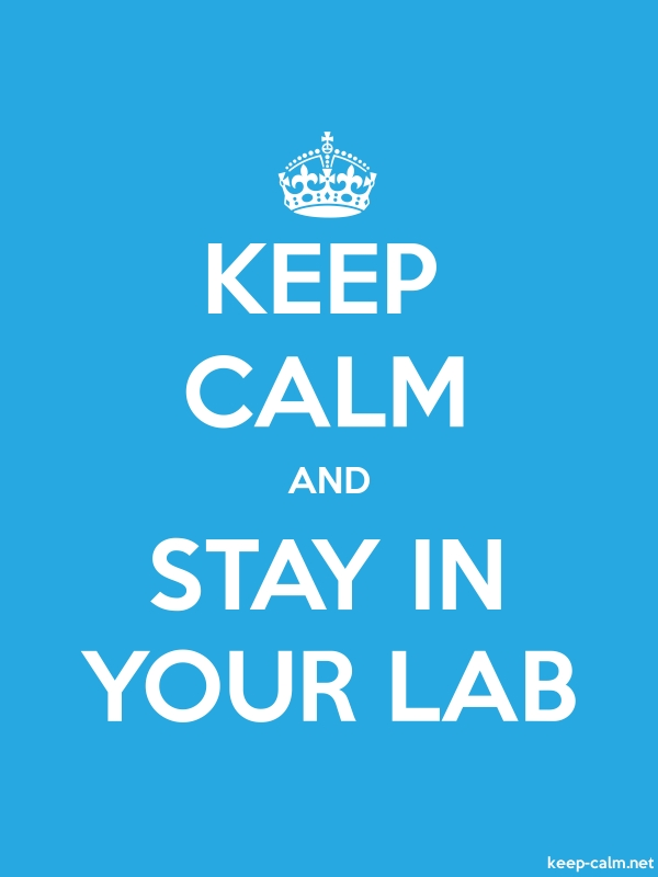 KEEP CALM AND STAY IN YOUR LAB - white/blue - Default (600x800)