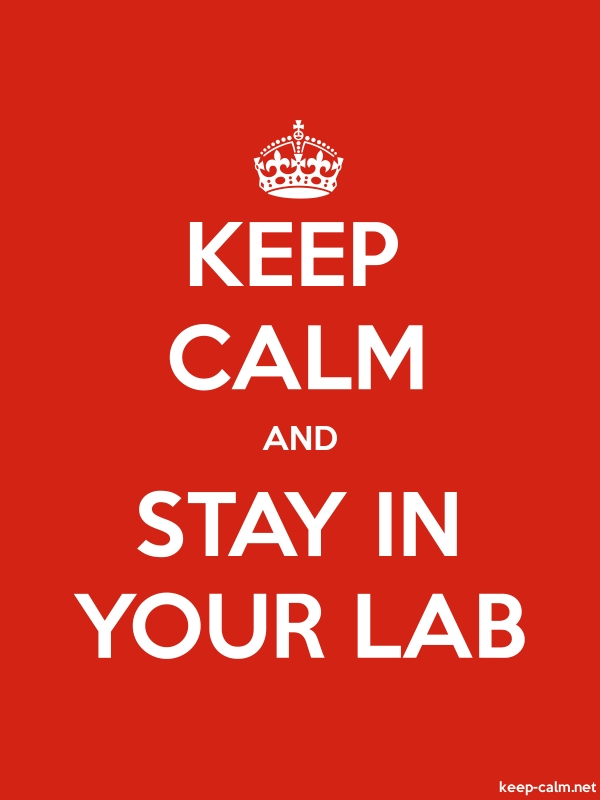 KEEP CALM AND STAY IN YOUR LAB - white/red - Default (600x800)
