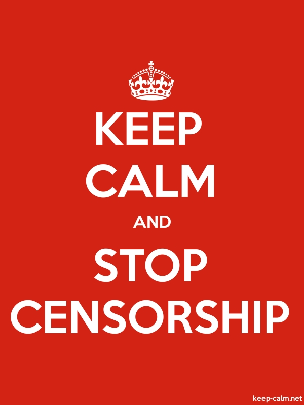 KEEP CALM AND STOP CENSORSHIP - white/red - Default (600x800)