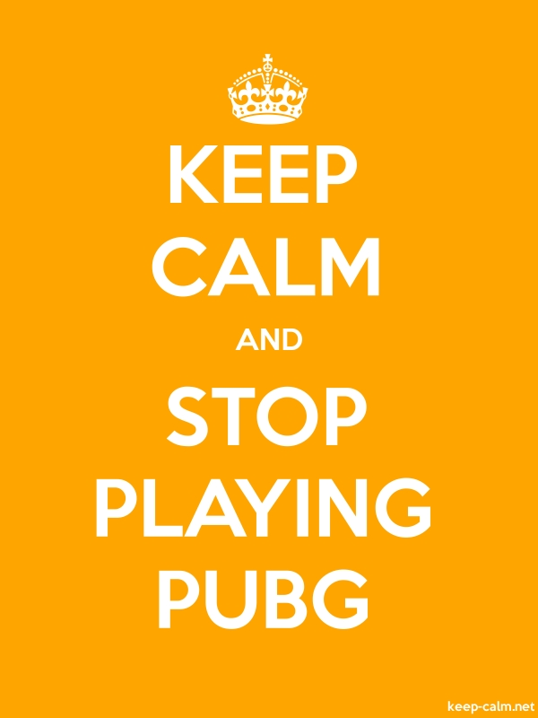 KEEP CALM AND STOP PLAYING PUBG - white/orange - Default (600x800)