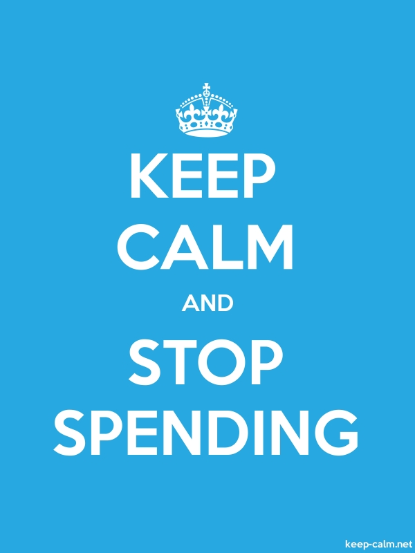 KEEP CALM AND STOP SPENDING - white/blue - Default (600x800)