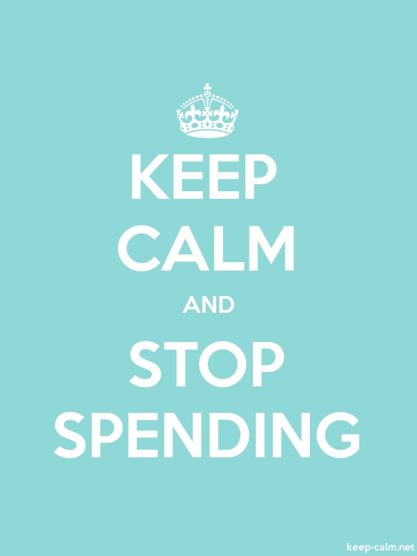 KEEP CALM AND STOP SPENDING - white/lightblue - Default (600x800)