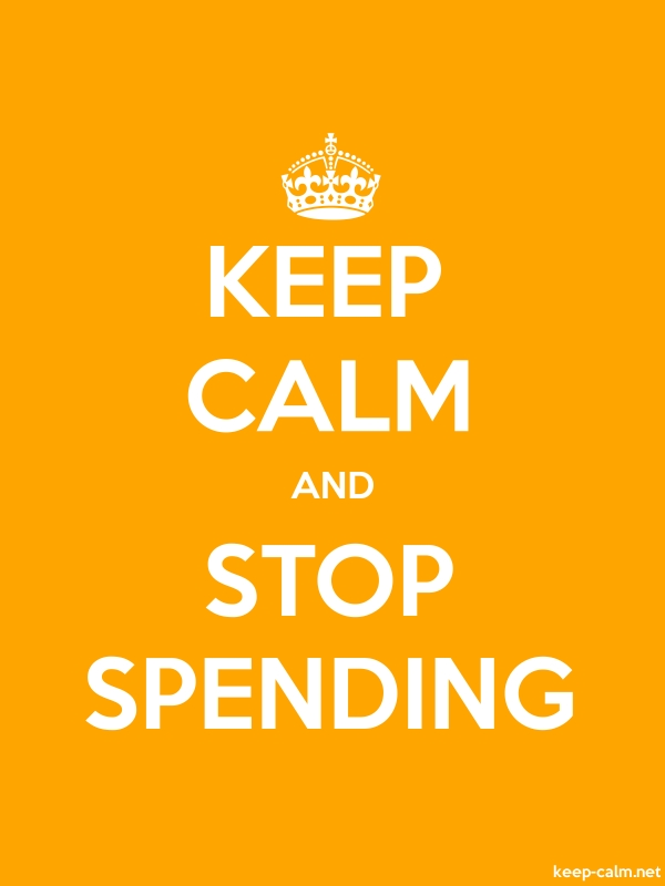KEEP CALM AND STOP SPENDING - white/orange - Default (600x800)