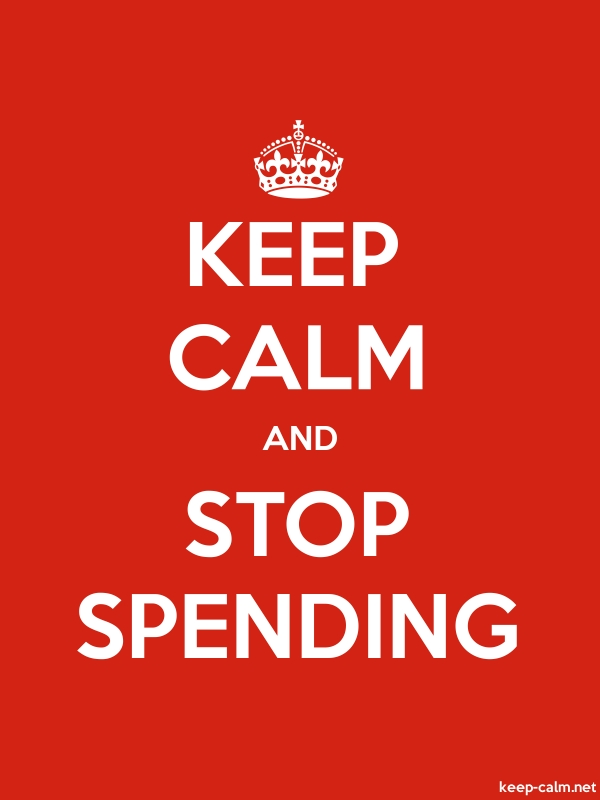 KEEP CALM AND STOP SPENDING - white/red - Default (600x800)