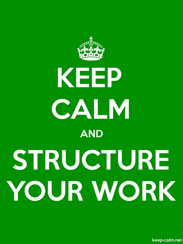 KEEP CALM AND STRUCTURE YOUR WORK - white/green - Default (600x800)