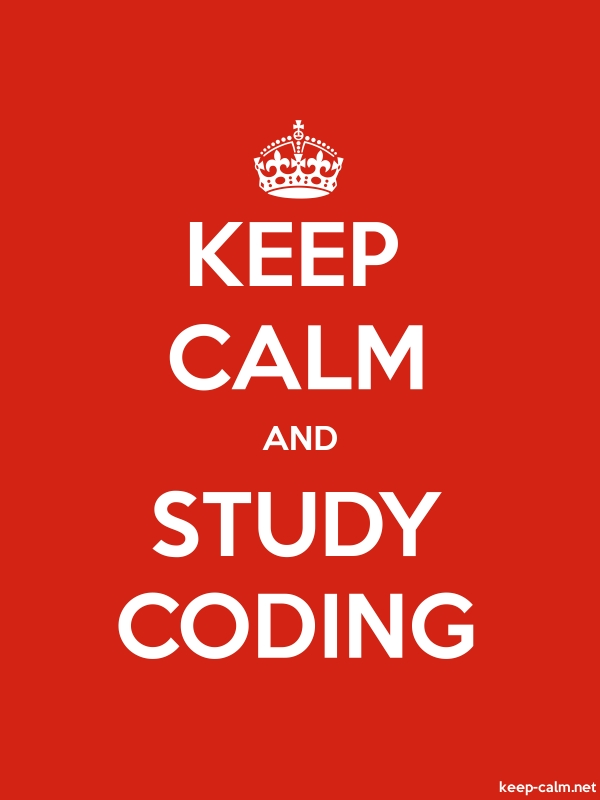 KEEP CALM AND STUDY CODING - white/red - Default (600x800)