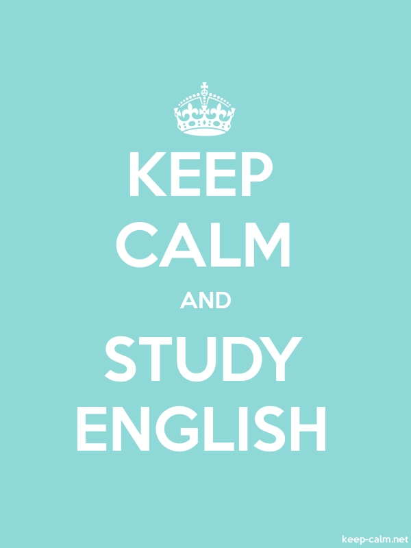 KEEP CALM AND STUDY ENGLISH - white/lightblue - Default (600x800)