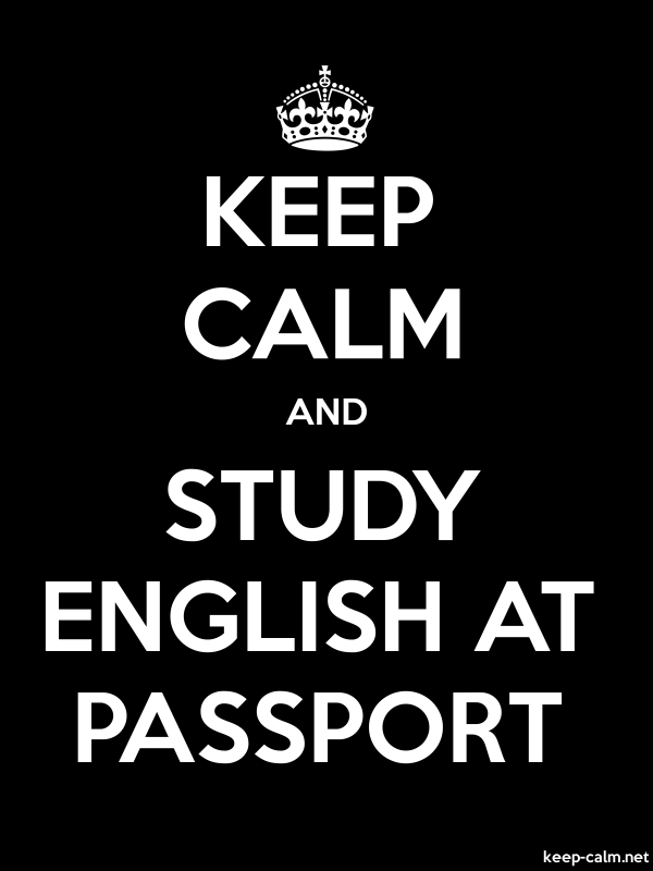 KEEP CALM AND STUDY ENGLISH AT PASSPORT - white/black - Default (600x800)