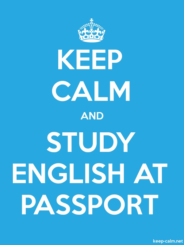 KEEP CALM AND STUDY ENGLISH AT PASSPORT - white/blue - Default (600x800)
