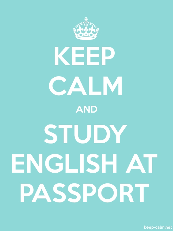 KEEP CALM AND STUDY ENGLISH AT PASSPORT - white/lightblue - Default (600x800)