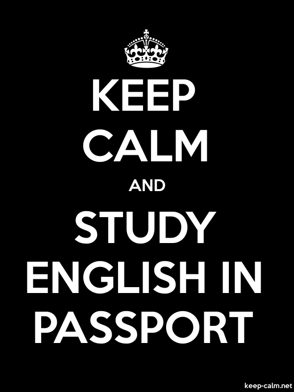 KEEP CALM AND STUDY ENGLISH IN PASSPORT - white/black - Default (600x800)