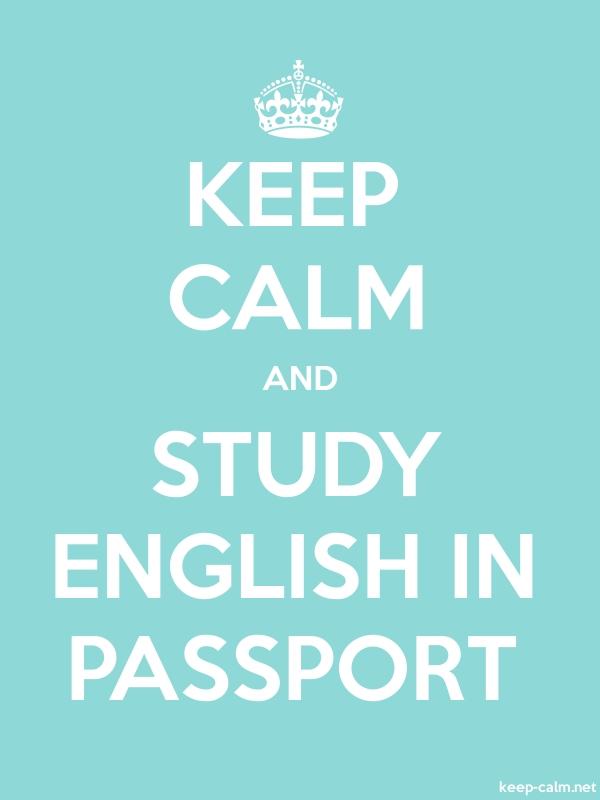 KEEP CALM AND STUDY ENGLISH IN PASSPORT - white/lightblue - Default (600x800)