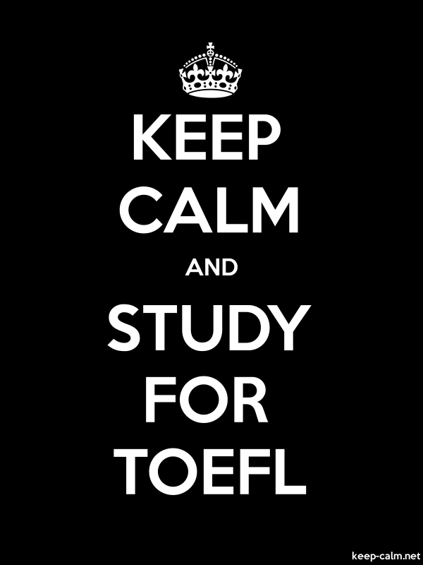 KEEP CALM AND STUDY FOR TOEFL - white/black - Default (600x800)