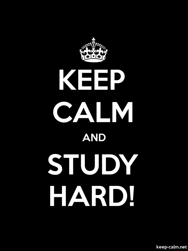 KEEP CALM AND STUDY HARD! - white/black - Default (600x800)