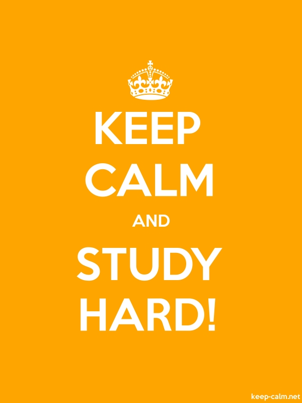 KEEP CALM AND STUDY HARD! - white/orange - Default (600x800)