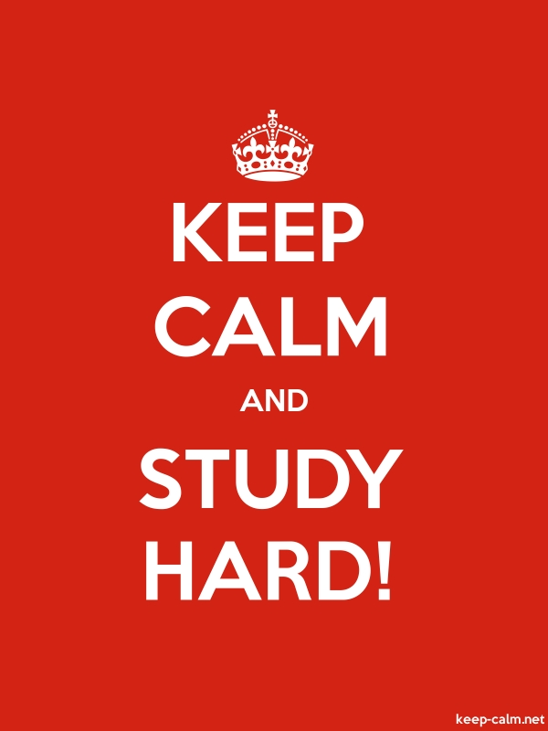 KEEP CALM AND STUDY HARD! - white/red - Default (600x800)