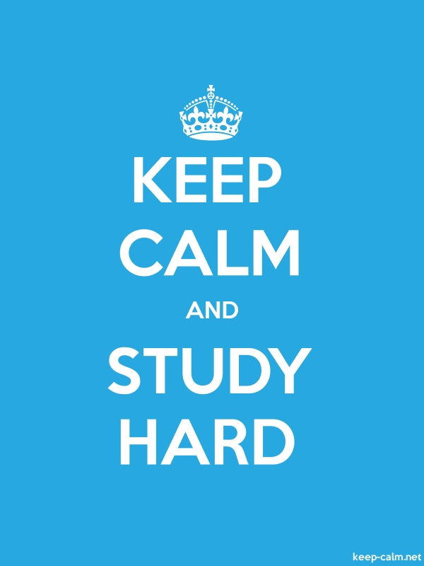 KEEP CALM AND STUDY HARD - white/blue - Default (600x800)