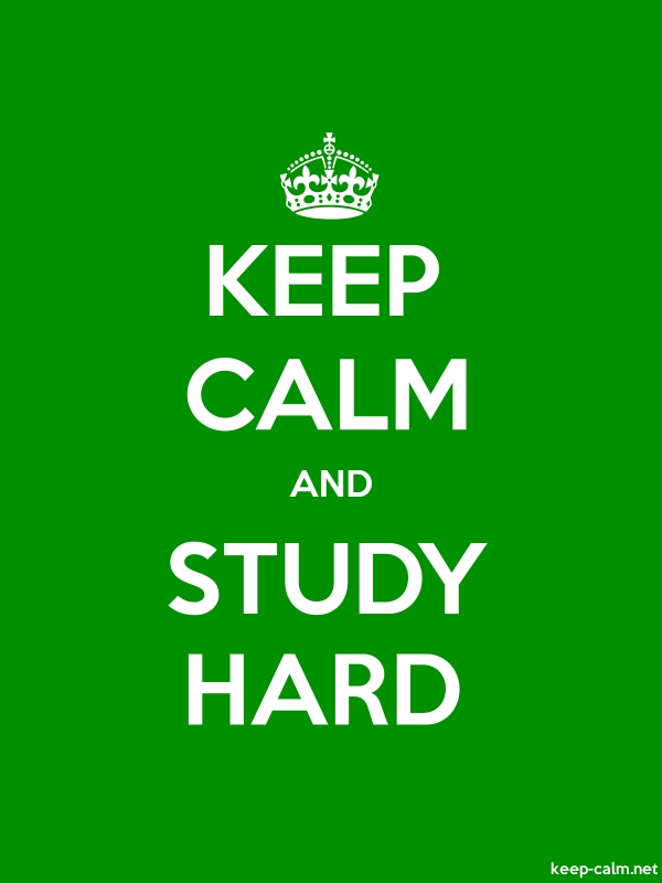 KEEP CALM AND STUDY HARD - white/green - Default (600x800)