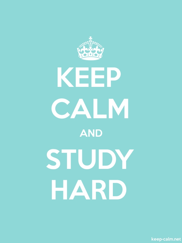 KEEP CALM AND STUDY HARD - white/lightblue - Default (600x800)