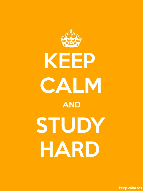 KEEP CALM AND STUDY HARD - white/orange - Default (600x800)