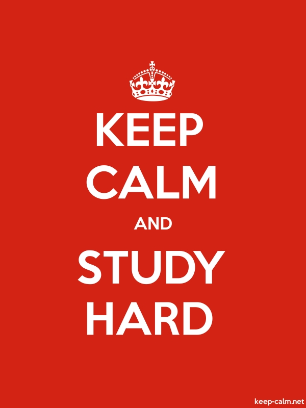 KEEP CALM AND STUDY HARD - white/red - Default (600x800)