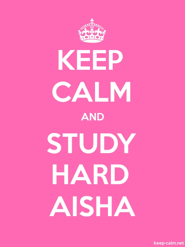KEEP CALM AND STUDY HARD AISHA - white/pink - Default (600x800)