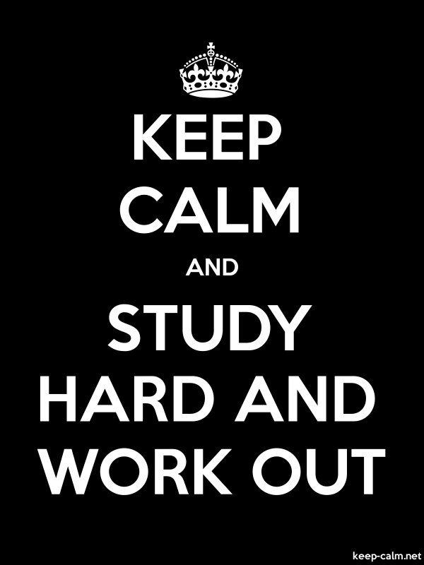 KEEP CALM AND STUDY HARD AND WORK OUT - white/black - Default (600x800)