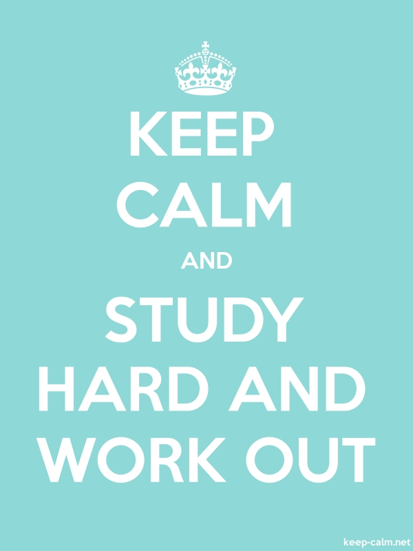 KEEP CALM AND STUDY HARD AND WORK OUT - white/lightblue - Default (600x800)