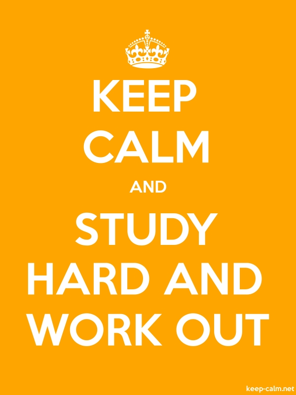 KEEP CALM AND STUDY HARD AND WORK OUT - white/orange - Default (600x800)