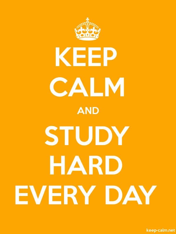 KEEP CALM AND STUDY HARD EVERY DAY - white/orange - Default (600x800)