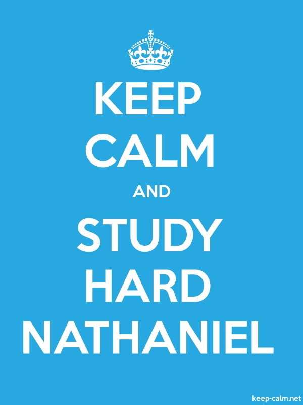 KEEP CALM AND STUDY HARD NATHANIEL - white/blue - Default (600x800)