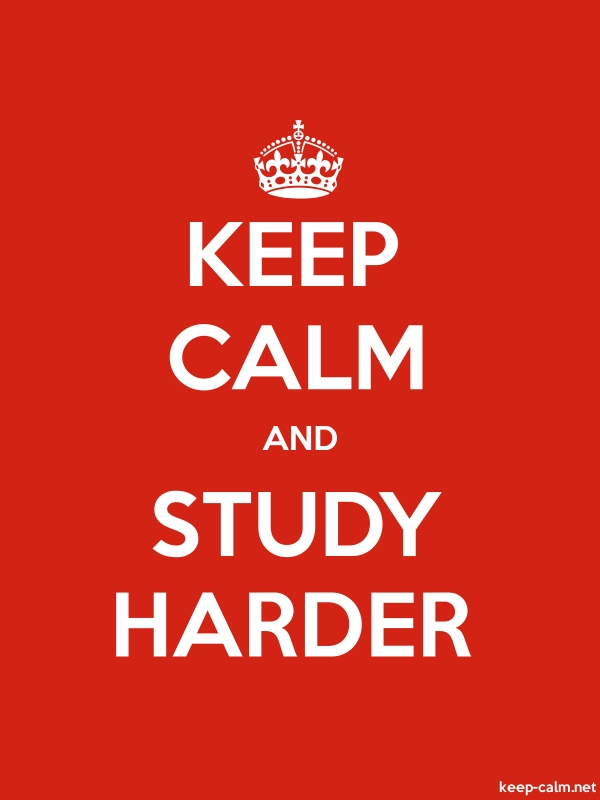 KEEP CALM AND STUDY HARDER - white/red - Default (600x800)