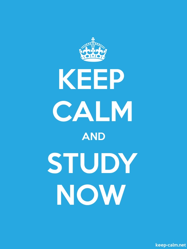 KEEP CALM AND STUDY NOW - white/blue - Default (600x800)