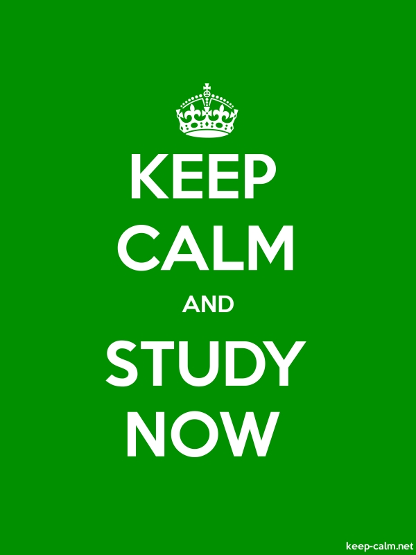 KEEP CALM AND STUDY NOW - white/green - Default (600x800)