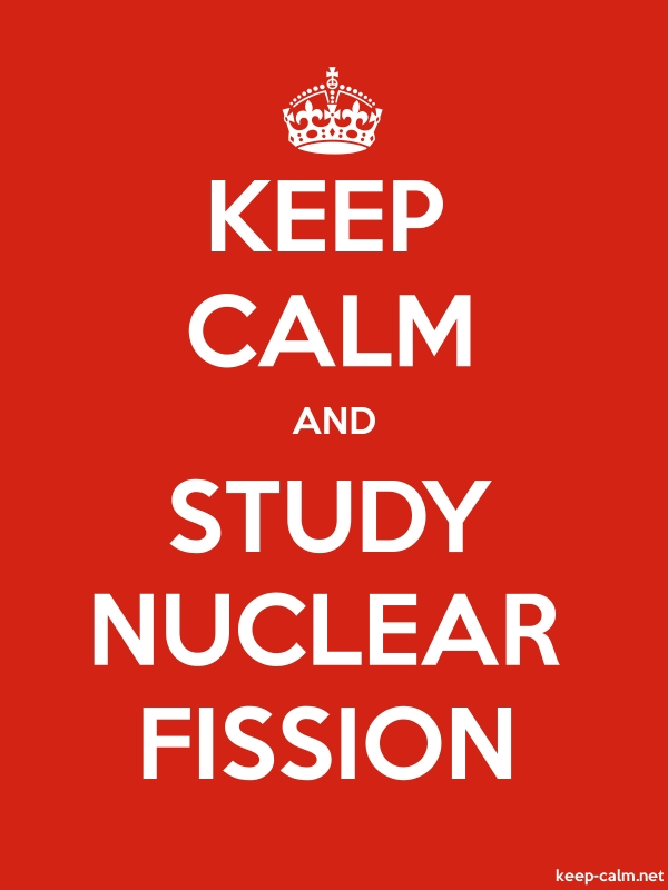 KEEP CALM AND STUDY NUCLEAR FISSION - white/red - Default (600x800)