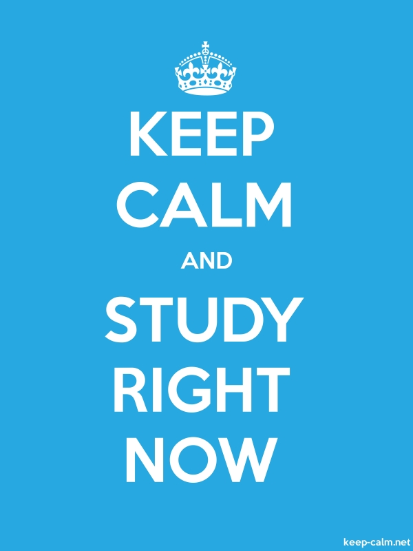 KEEP CALM AND STUDY RIGHT NOW - white/blue - Default (600x800)