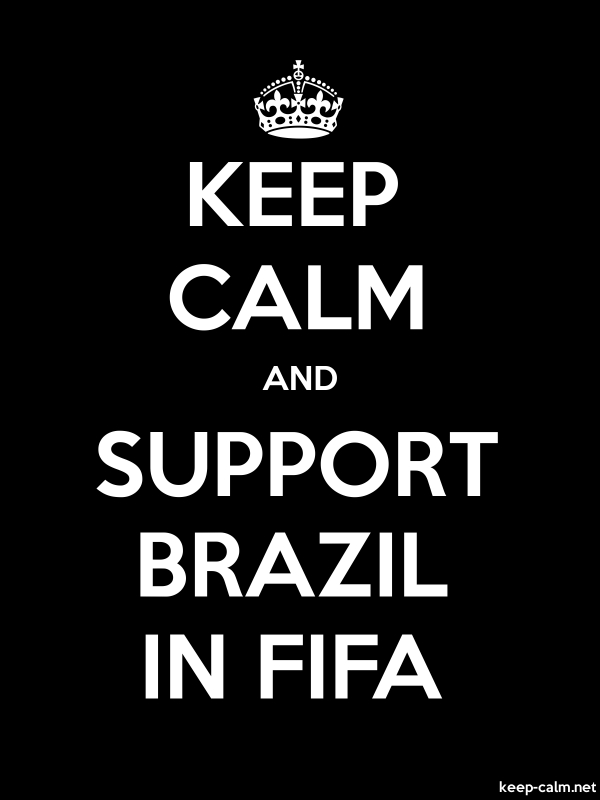 KEEP CALM AND SUPPORT BRAZIL IN FIFA - white/black - Default (600x800)