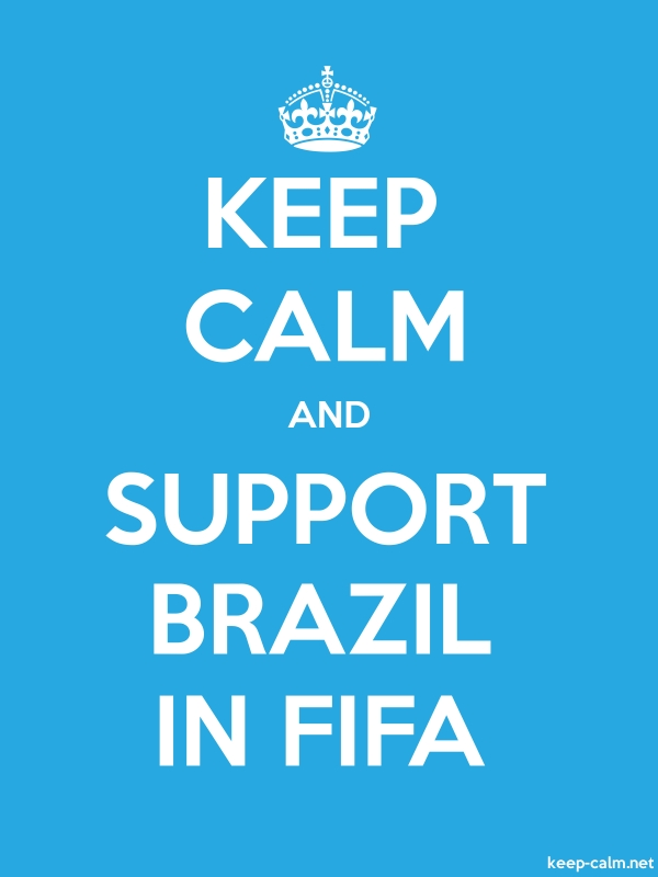 KEEP CALM AND SUPPORT BRAZIL IN FIFA - white/blue - Default (600x800)