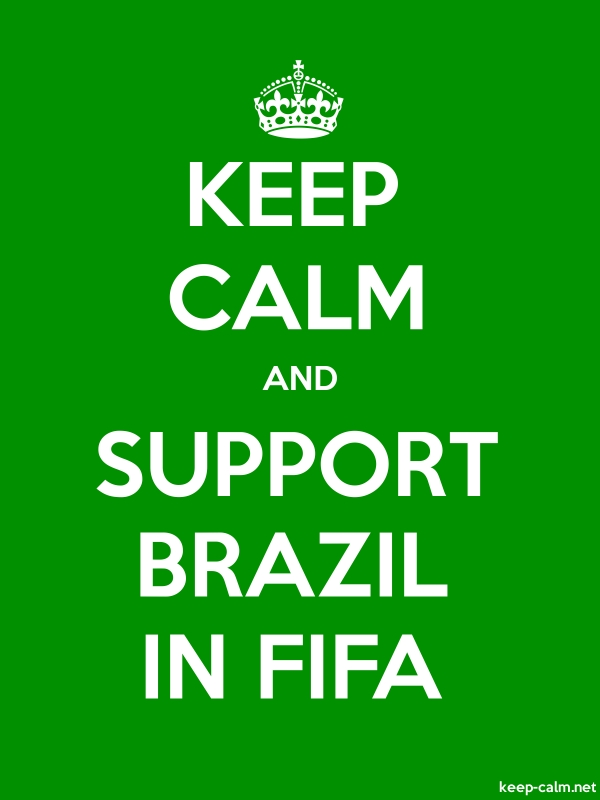 KEEP CALM AND SUPPORT BRAZIL IN FIFA - white/green - Default (600x800)