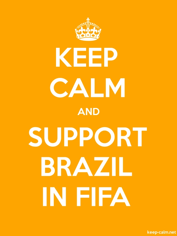 KEEP CALM AND SUPPORT BRAZIL IN FIFA - white/orange - Default (600x800)