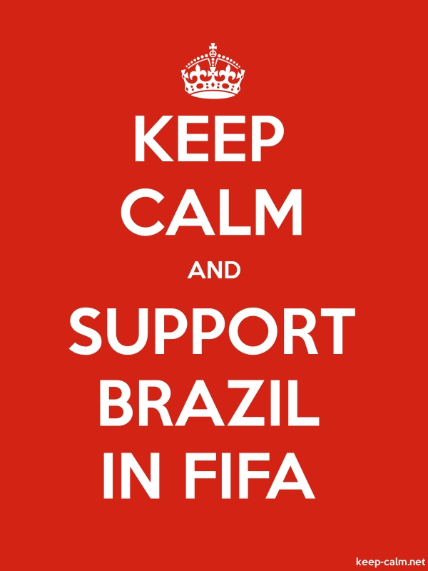 KEEP CALM AND SUPPORT BRAZIL IN FIFA - white/red - Default (600x800)