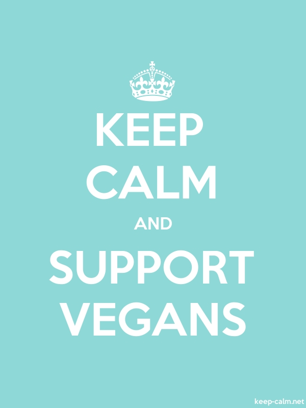 KEEP CALM AND SUPPORT VEGANS - white/lightblue - Default (600x800)