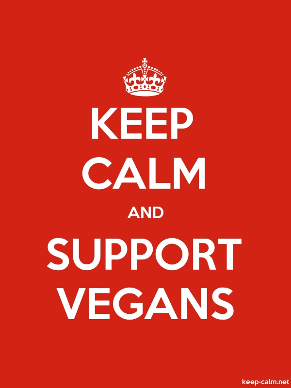 KEEP CALM AND SUPPORT VEGANS - white/red - Default (600x800)