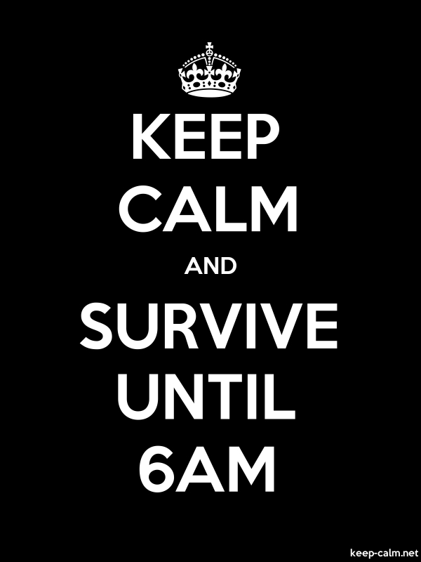 KEEP CALM AND SURVIVE UNTIL 6AM - white/black - Default (600x800)