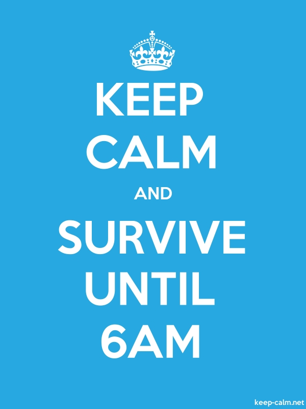 KEEP CALM AND SURVIVE UNTIL 6AM - white/blue - Default (600x800)