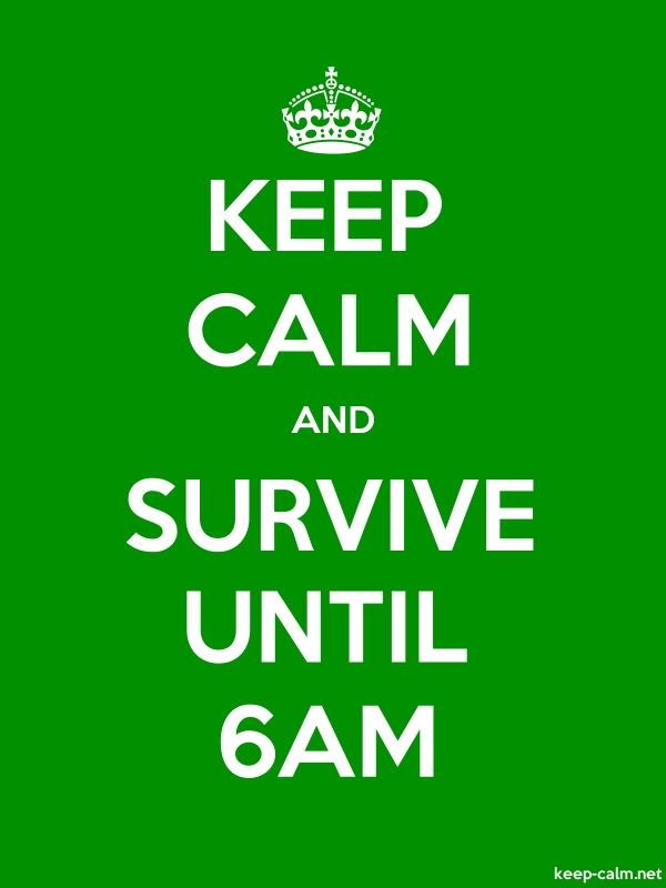 KEEP CALM AND SURVIVE UNTIL 6AM - white/green - Default (600x800)