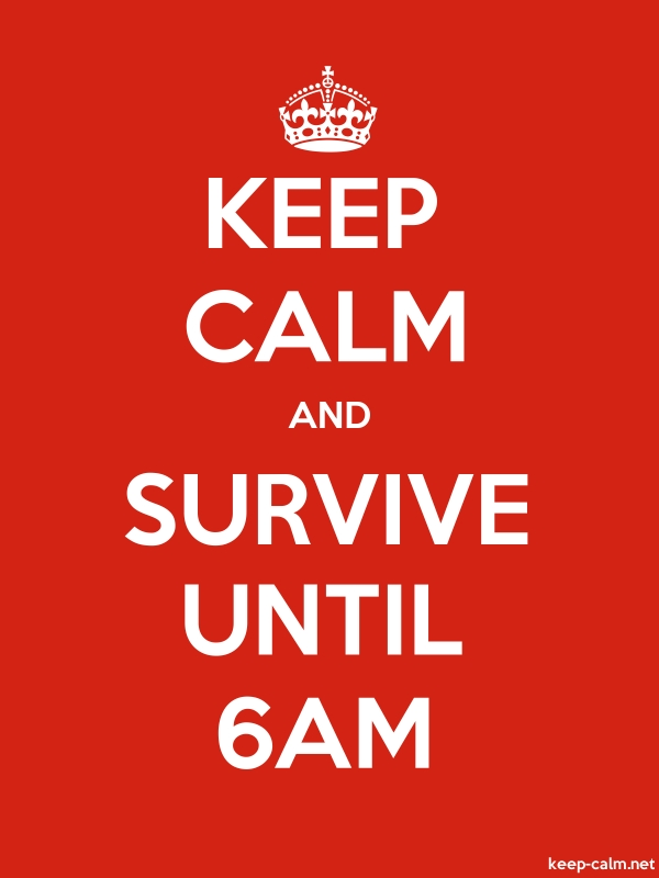 KEEP CALM AND SURVIVE UNTIL 6AM - white/red - Default (600x800)